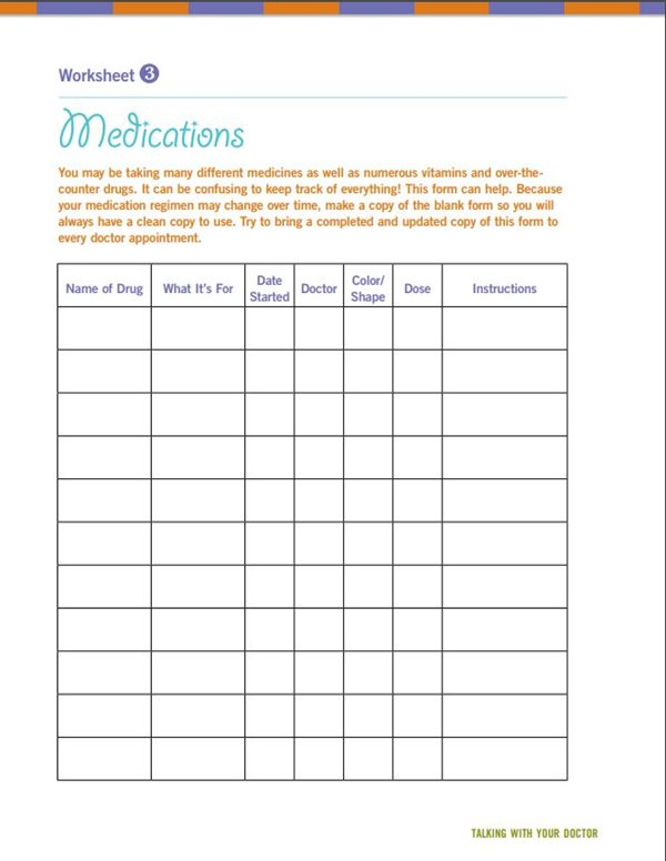 keep track of medications with this worksheet